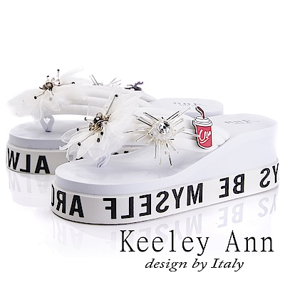 Keeley Ann 夏日度假~時尚風花朵扣飾海灘夾腳涼拖鞋(白色-Ann系列)