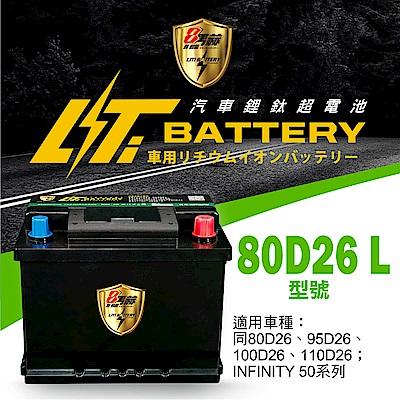 日本KOTSURU-8馬赫鋰鈦汽車啟動電瓶 80D26 L / 50Ah