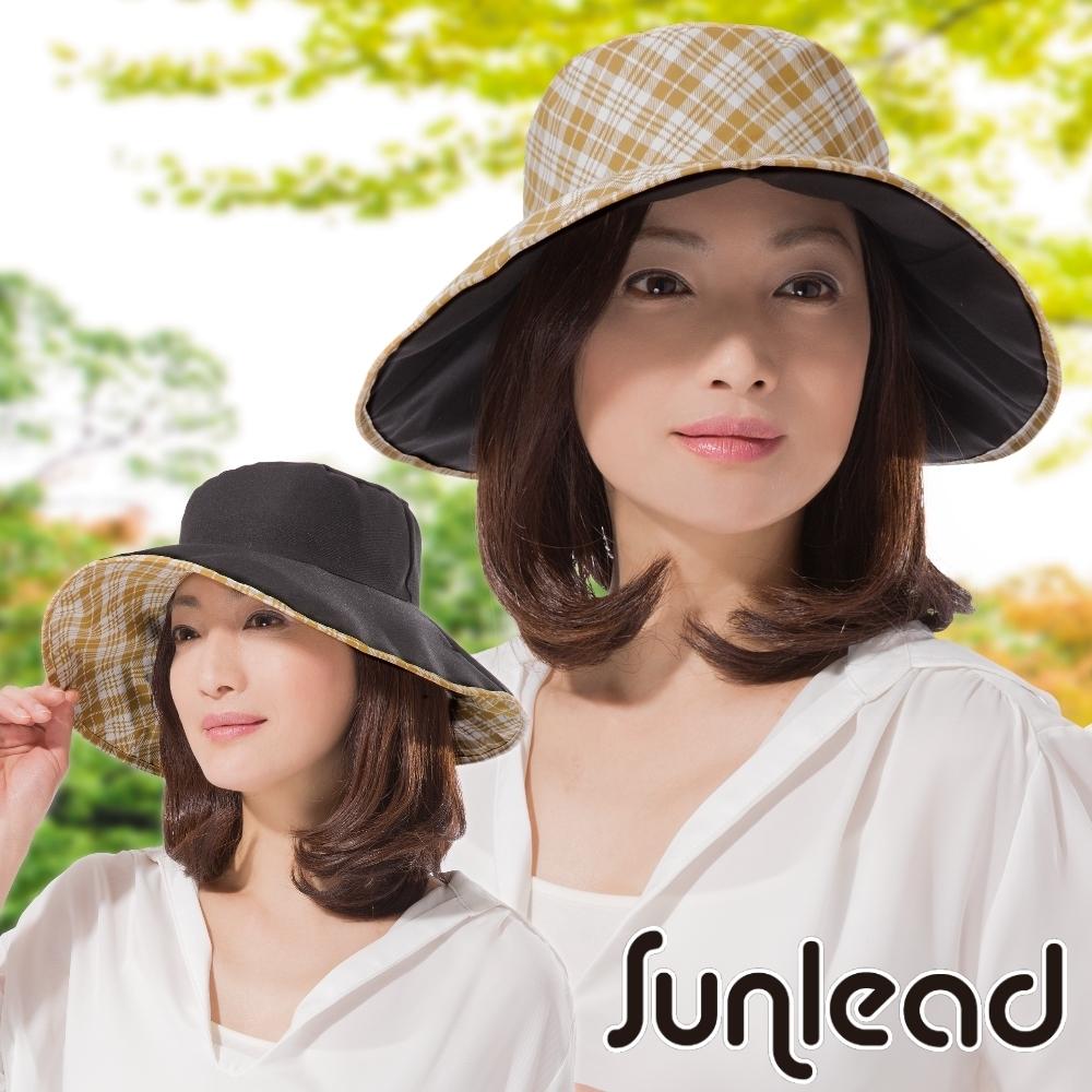 Sunlead 晴雨兩用款。雙面雙色可戴防曬寬緣遮陽帽 (格紋/黑色)