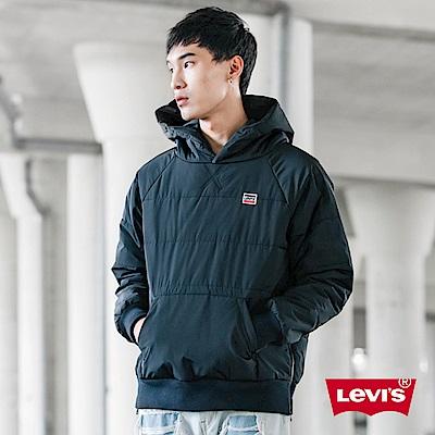 Levis 男款 帽T式鋪棉外套 聚脂纖維填充 側邊拉鍊 黑色微漸層