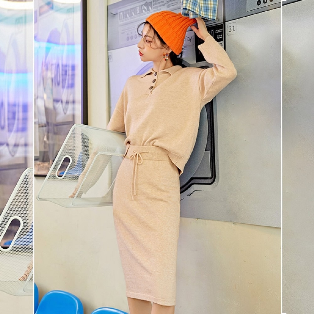 套裝 排扣繫帶長袖及膝裙套裝OU13603-創翊韓都