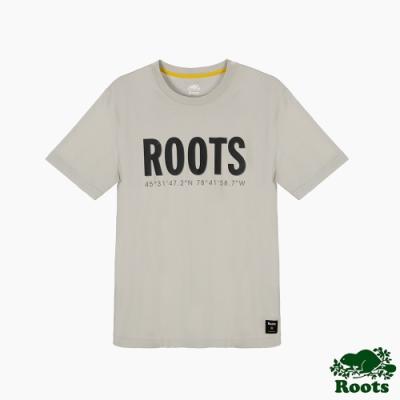 Roots男裝-旅程印記系列 經緯度元素袖T恤-灰色