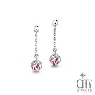 City Diamond引雅【東京Yuki系列】18K日本紅寶石鏤空雕花熱氣球耳環