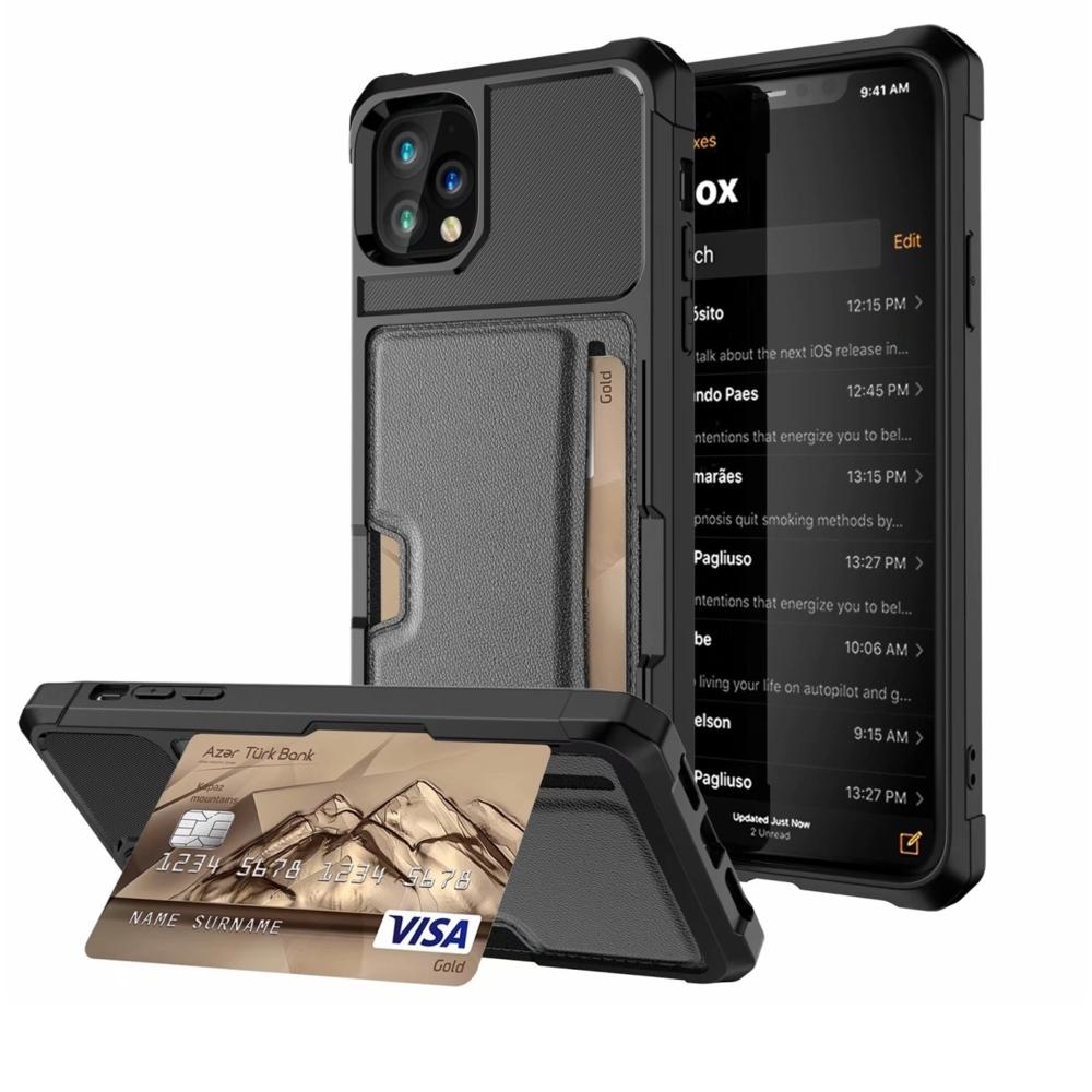 【時時樂】TYS彗星黑[插卡+支架]四角抗撞防摔iPhone手機殼