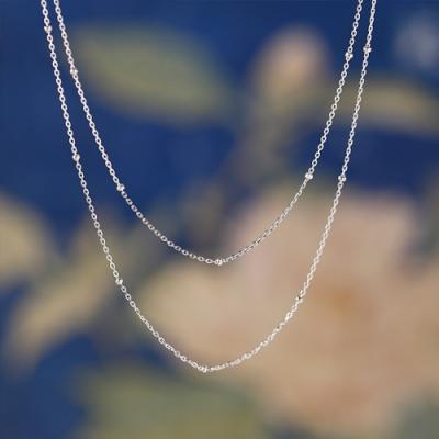 東方美學古典雙層極簡文藝S925純銀間珠裸鏈項鍊配鏈-設計所在
