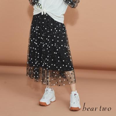 beartwo-趣味方點點網紗裙-黑