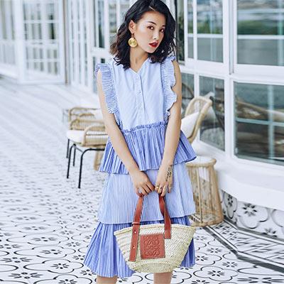 V領細條紋荷葉邊蛋糕洋裝 (藍色)-Kugi Girl