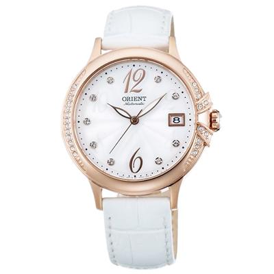 ORIENT東方ELEGANT璀璨之星晶鑽機械手錶-白X玫瑰金框/38mm