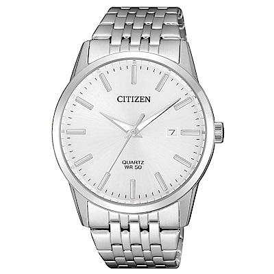 CITIZEN 一品雅爵夜光石英腕錶(BI5000-87A)-銀x39mm