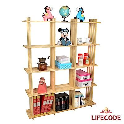 LIFECODE 極簡風黃松木正十二格架/實木置物架/書架/花架