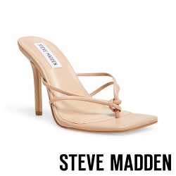 STEVE MADDEN-SCORED 簡約扭結設計T字高跟拖鞋-卡其杏