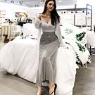 La Belleza鬆緊腰中間線條前後兩穿大開叉棉質魚尾裙