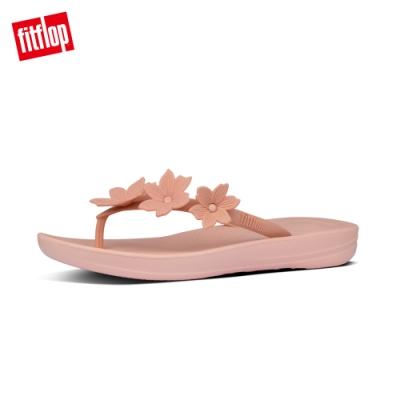 FitFlop IQUSHION FLOWER FLIP-FLOPS 花飾輕量人體工學戲水夾腳涼鞋-女(灰粉)