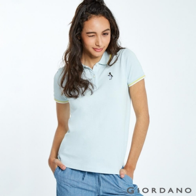 GIORDANO 女裝企鵝刺繡彈力萊卡POLO衫-62 寶貝藍