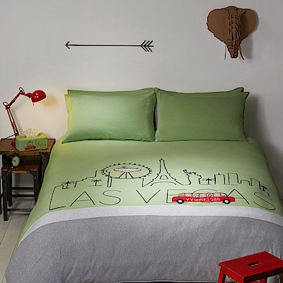 Yvonne Collection 拉斯維加斯加大三件式被套組+壓縮枕一對-草綠