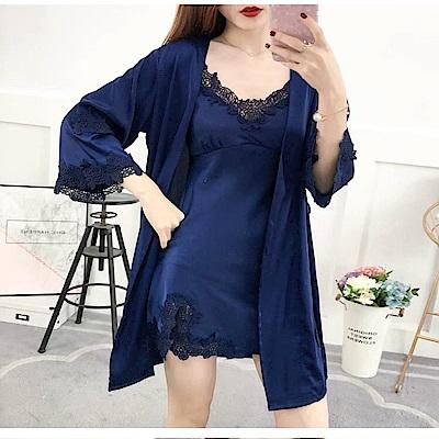 情趣睡衣 綢緞睡衣超值4件組-深藍色