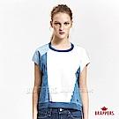 BRAPPERS 女款 牛仔純棉拼接短袖上衣-藍