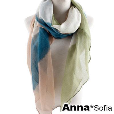 AnnaSofia 紛彩拼色 巴黎紗披肩圍巾(藍綠粉系)