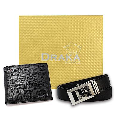 DRAKA 達卡 - 黃金禮盒 真皮皮夾+自動皮帶-6013
