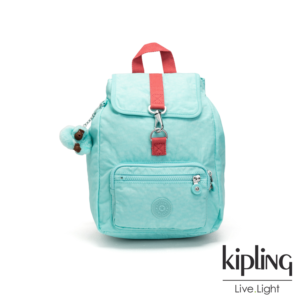 Kipling 糖果色調薄荷綠撞色特殊扣環後背包-RESOR