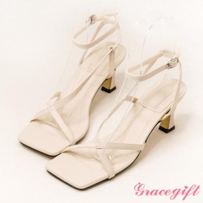 Grace gift-方頭交叉繫踝高跟涼鞋 米白