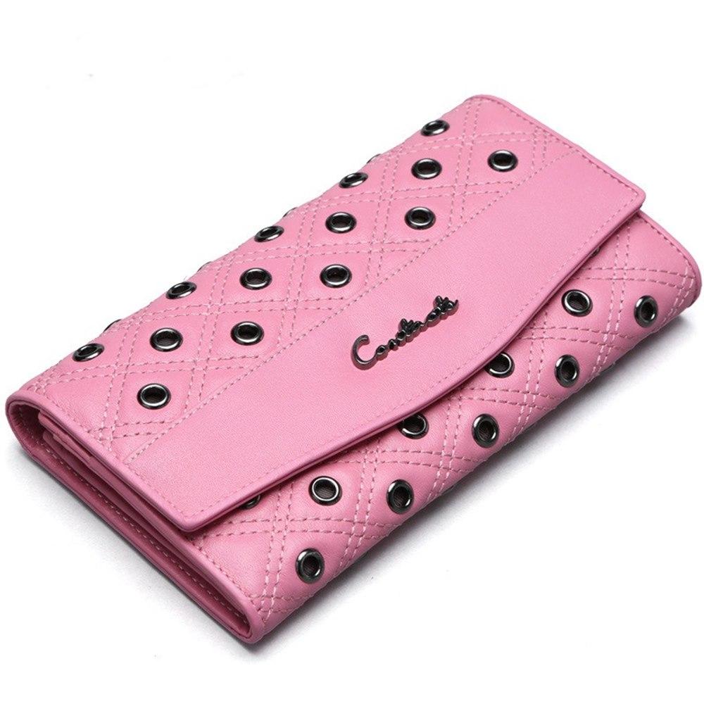 米蘭精品 長夾真皮皮夾-鉚釘裝飾三折長款手拿包情人節生日禮物2色73ny32