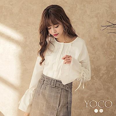 東京著衣-yoco 貴族宮廷胸前打褶喇叭袖襯衫上衣-S.M.L(共二色)
