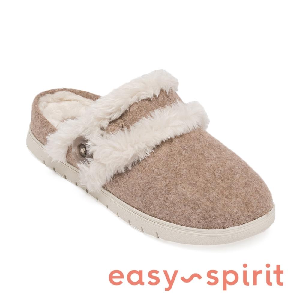 Easy Spirit-seSEASON2-A 秋冬舒適絨毛前包女拖鞋-卡其色