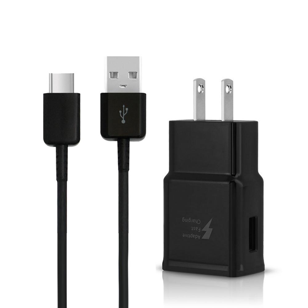 SAMSUNG 原廠 9V快速旅行充電器+Type-C傳輸充電線組_新款黑(密封袋裝)