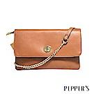 PEPPER`S Ellie 羊皮轉鎖小斜背包 - 棕