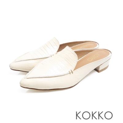 KOKKO - 理性與感性手工羊皮尖頭穆勒鞋-鱷魚白