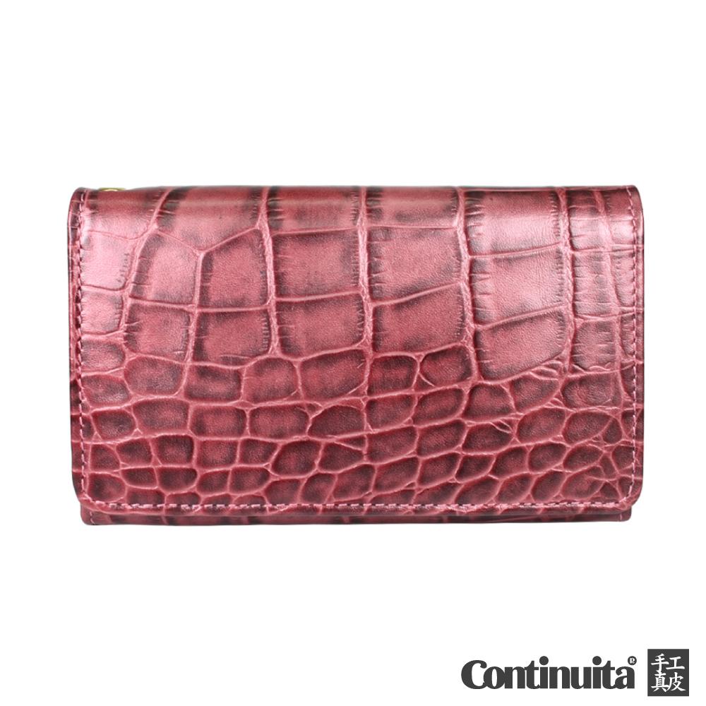Continuita 康緹尼 頭層牛皮日本鱷魚紋多功能手機套-紫紅色