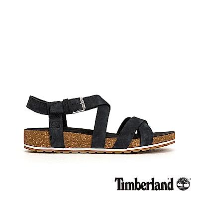 Timberland 女款黑色磨砂革交叉繫帶涼鞋|A1MR3