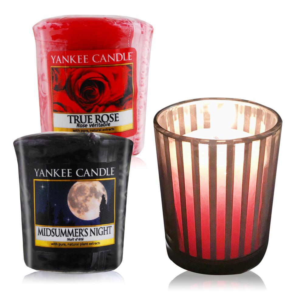 YANKEE CANDLE 香氛蠟燭-仲夏之夜+真愛玫瑰49gX2+祈禱燭杯