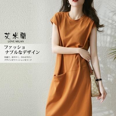 艾米蘭-韓版時尚修身顯瘦氣質純色圓領造型洋裝-橘色(M-XL)