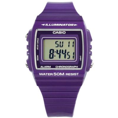 CASIO 卡西歐 計時電子橡膠手錶-紫色 W-215H-6A 38mm