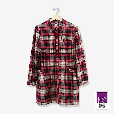 ILEY伊蕾 學院風100%純棉格紋長版上衣(紅)