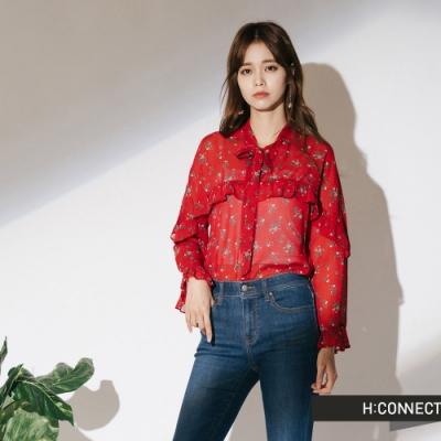 H:CONNECT 韓國品牌 女裝-雪紡花樣綁結上衣-紅(快)