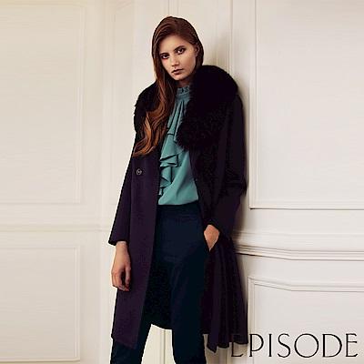 EPISODE - 質感保暖毛領長版羊毛大衣