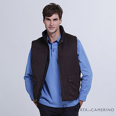 ROBERTA諾貝達 台灣製 雙面可穿 保暖百搭 無袖背心 灰褐