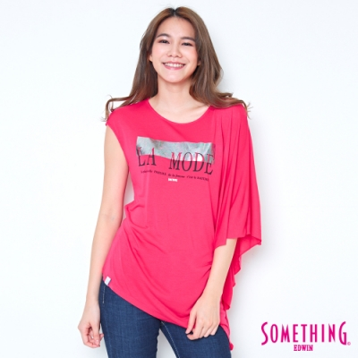 SOMETHING 不對稱造型T恤-女-桃紅