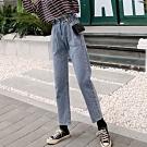 La Belleza高腰荷葉壓折鬆緊腰反釦側邊大口袋復古煙灰色水洗牛仔褲