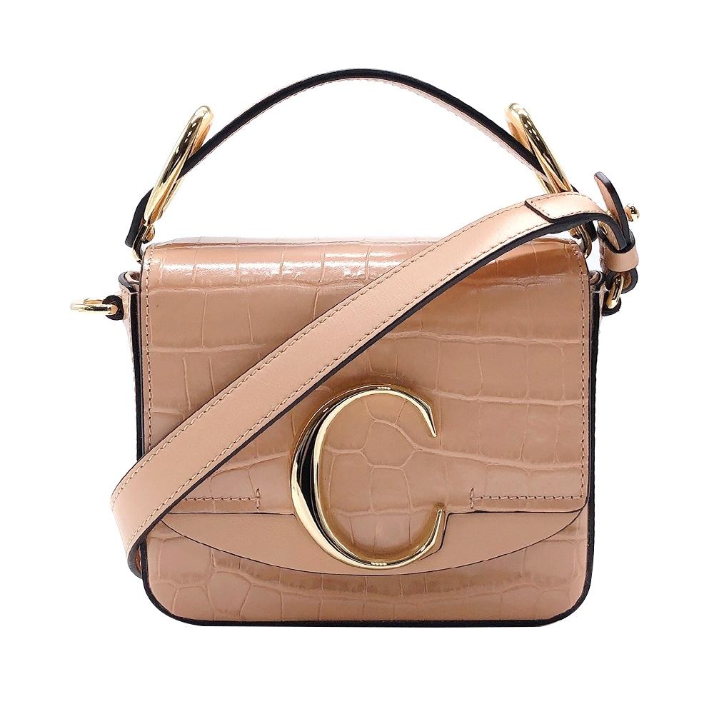 CHLOE C Bag 牛皮壓鱷魚紋手提/斜背兩用包-mini(蜜粉色)