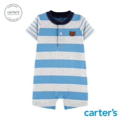 carter's台灣總代理 熊熊條紋短袖連身裝