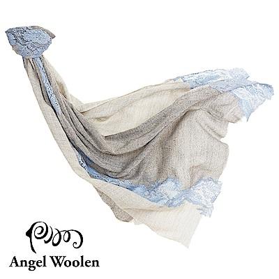 【Angel Woolen】時間秘境印度手工cashmere蕾絲披肩-灰藍