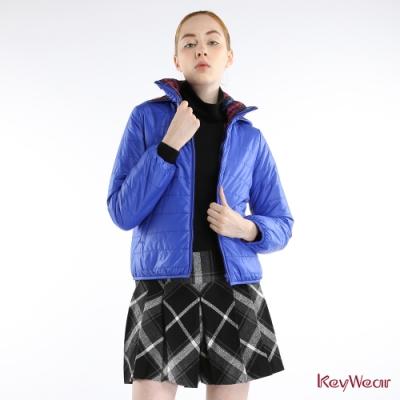 KeyWear奇威名品     時尚可拆帽T雙面穿輕保暖長袖外套-水藍色