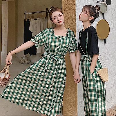 DABI 韓系閨蜜收腰短袖格子褲連身裙套裝短袖褲裝