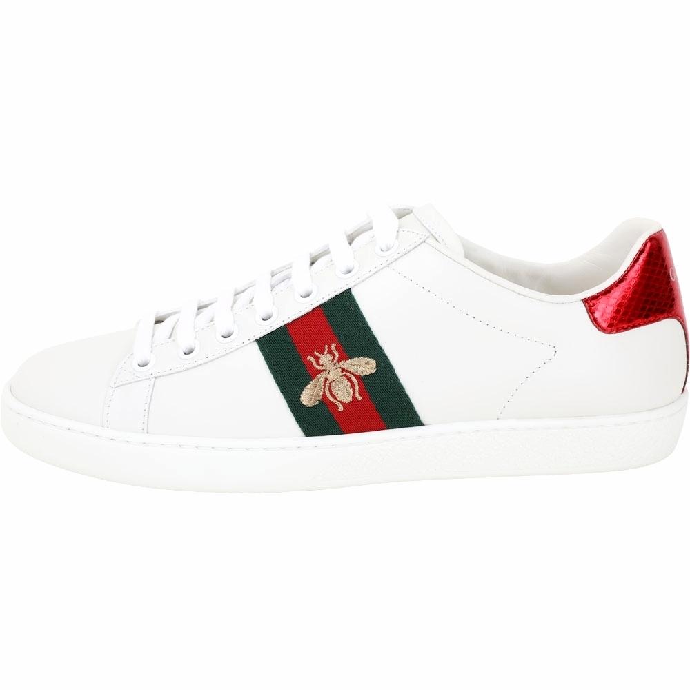 GUCCI Ace 蜜蜂刺繡皮革繫帶小白鞋(白色)