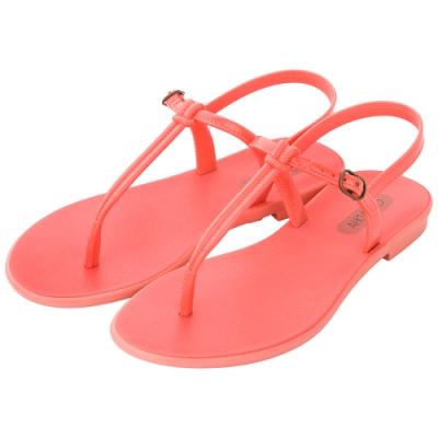 Grendha 極簡亮面T字帶平底涼鞋-珊瑚粉