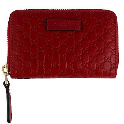 GUCCI Guccissima 紅色真皮壓紋拉鍊零錢/名片夾